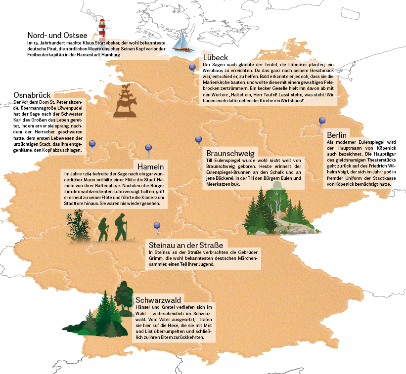 Deutschlandkarte mit den Standorten ausgewählter Sagengestalten