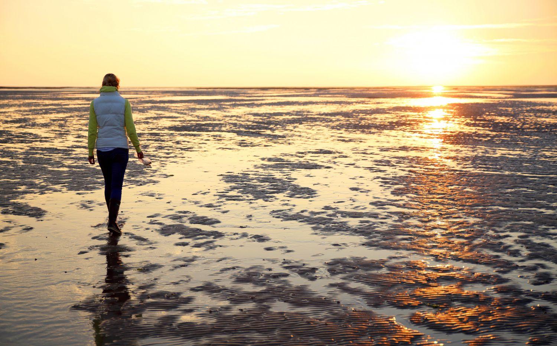 Frau im Watt bei Sonnenuntergang.